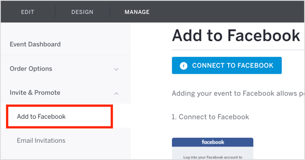 On the On the Eventbrite Manage tab, click Invite & Promote and select Add to Facebook from the drop-down menu.