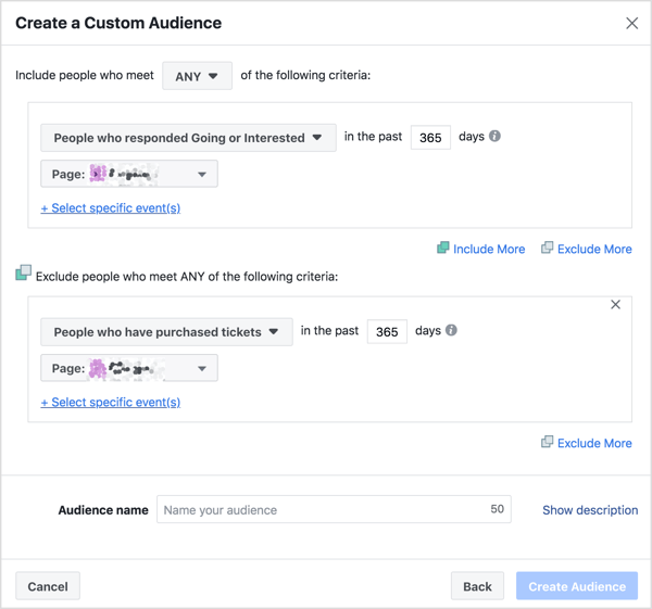 Create your custom audience based on people who responded