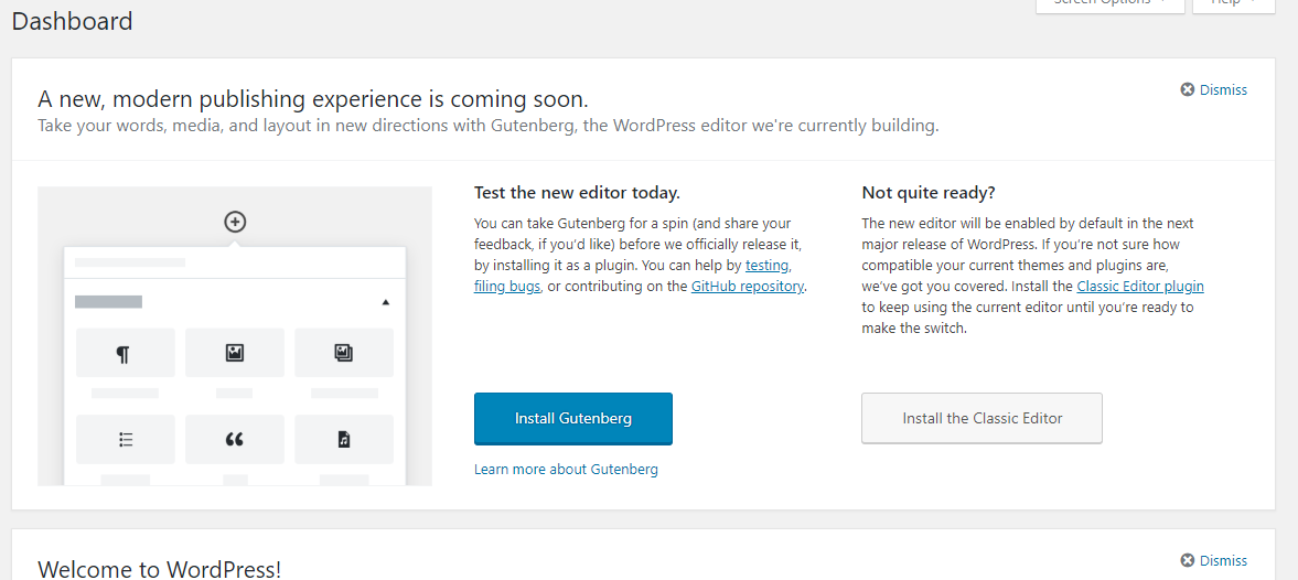 Gutenberg plugin notification