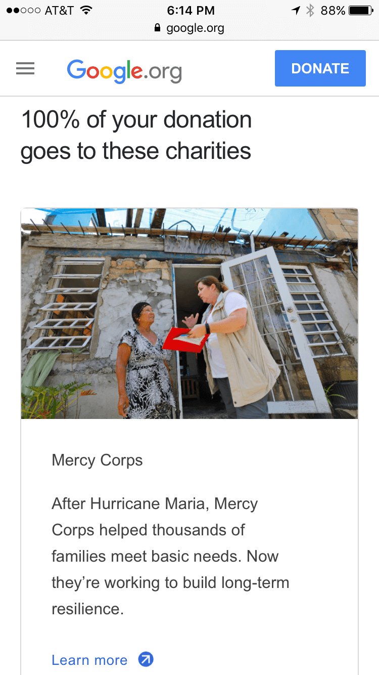 Google Puerto Rico Relief - Mobile Giving & Fundraising 3