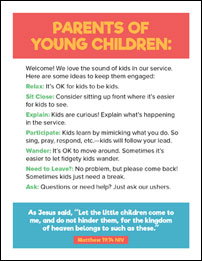 Pew card to welcome kids and parents to church.