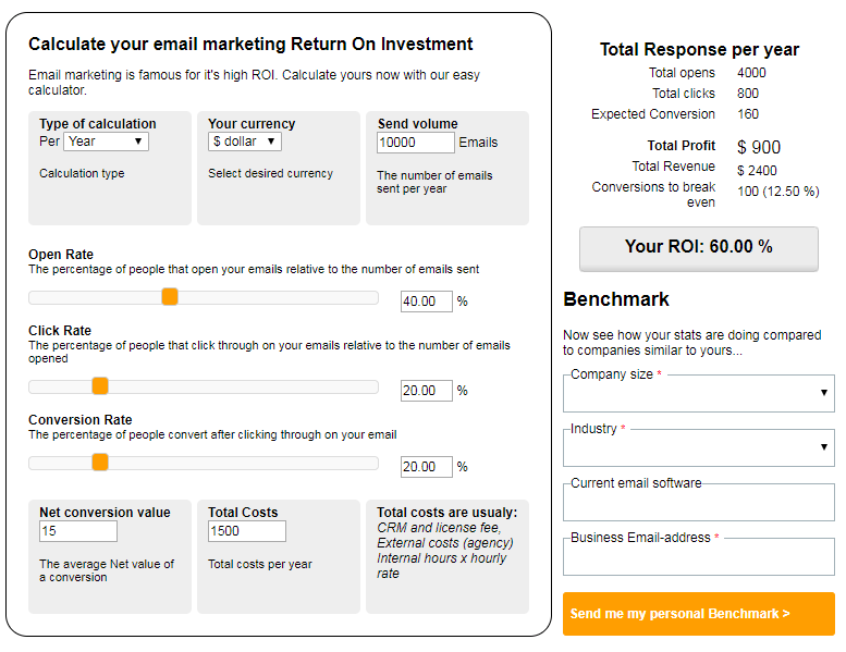 email marketing strategies - email marketing calculator