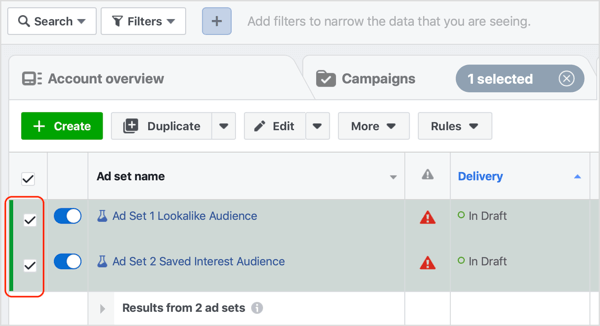 Ensure that both of your Facebook ad sets are selected.