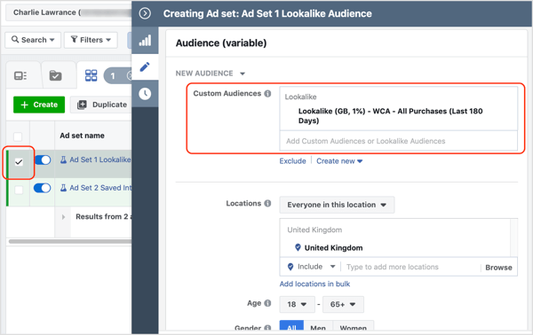 To add a lookalike audience, click in the Custom Audiences field and search for the lookalike you want to use.