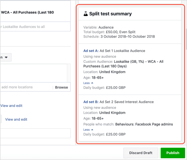 Split test summary for your Facebook test.