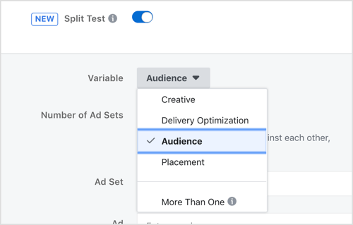 Select a variable to test with the Facebook split testing feature.