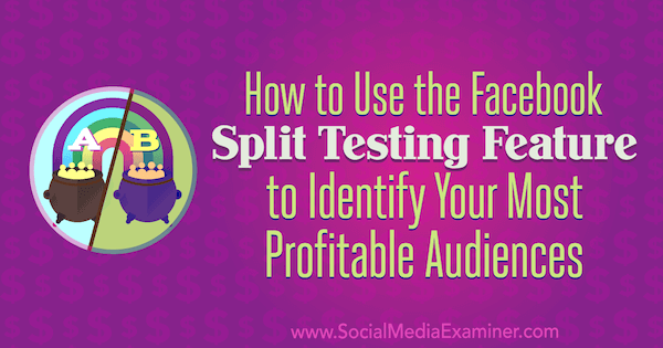 How to Use the Facebook Split Testing Feature to Identify Your Most Profitable Audiences by Charlie Lawrance on Social Media Examiner.