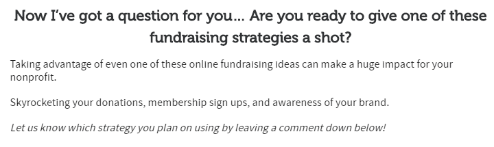 online fundraising ideas - question