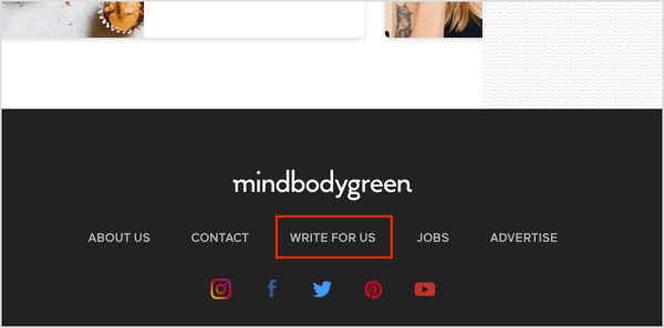 A Write for Us link on a website that accepts guest posts.