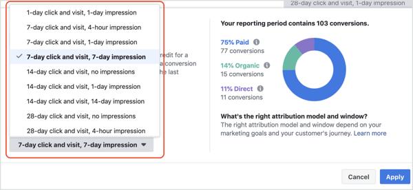 Attribution Window drop-down list in Facebook Attribution tool