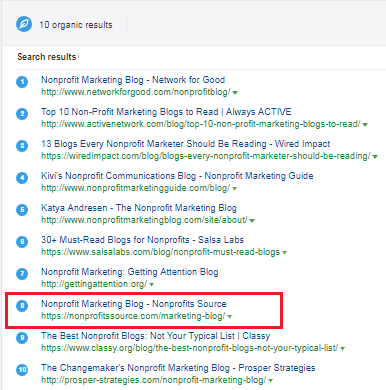 nonprofit marketing blog - keyword ranking