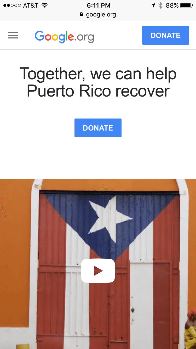 Google Puerto Rico Relief - Mobile Giving & Fundraising 1