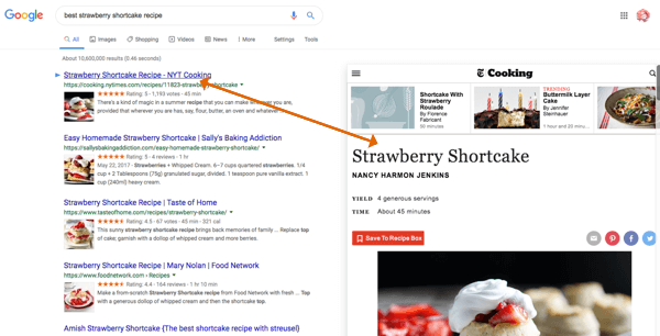Use Google Results Previewer to view content before you click through.