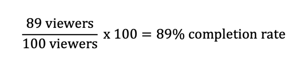 Formula to calculate Instagram Stories completion rate.