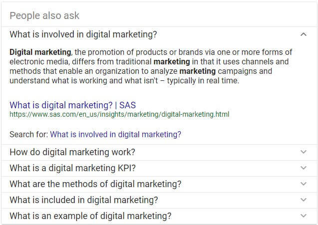 people also ask - digital marketing results