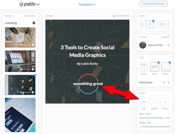 Use Pablo to create images for social media, step 6.