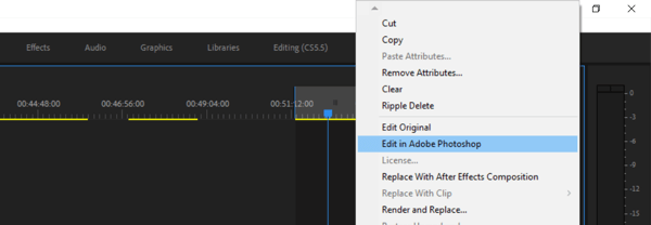 Use a six-step workflow to create video for multiple platforms, step 9, menu option to edit in Photoshop from Premiere Pro