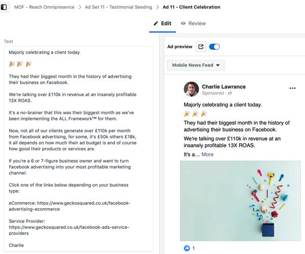 Create a Facebook ads reach campaign, step 7.
