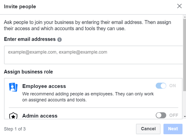 Use Facebook Business Manager, Step 3.