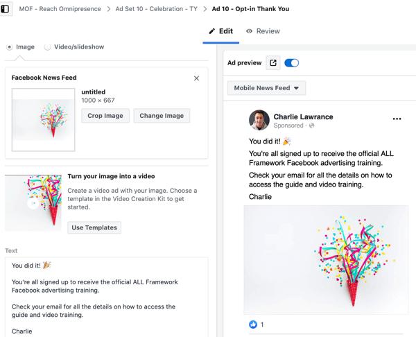 Create a Facebook ads reach campaign, step 9.