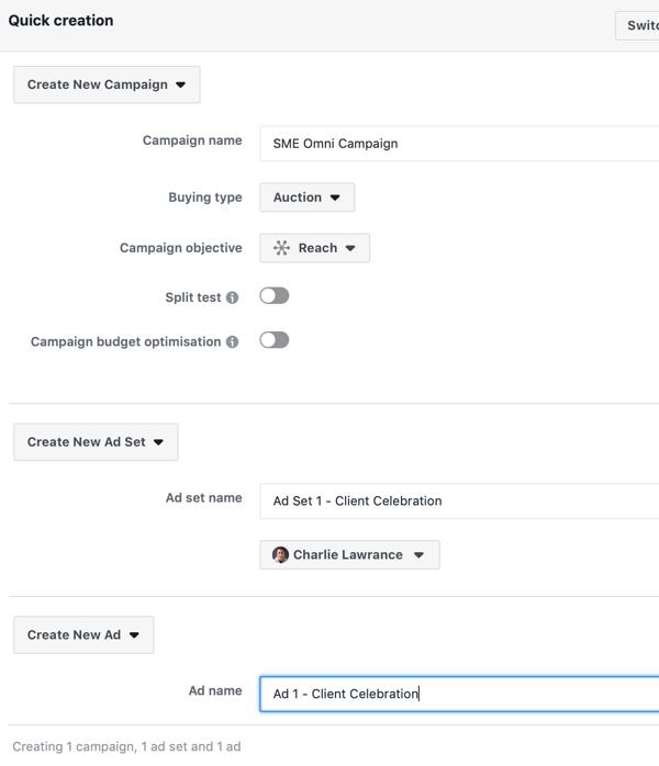 Create a Facebook ads reach campaign, step 3.