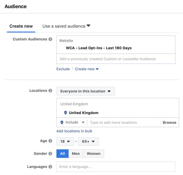 Create a Facebook ads reach campaign, step 4.