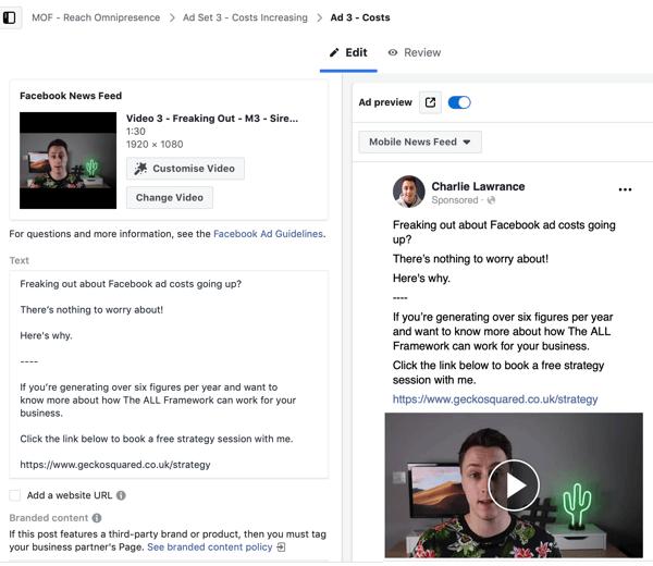 Create a Facebook ads reach campaign, step 6.