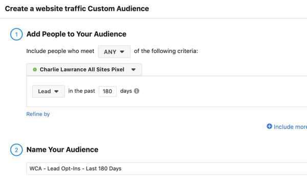 Create a Facebook ads reach campaign, step 2.