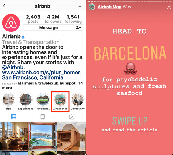 How to add or share a link to Instagram, example 2.