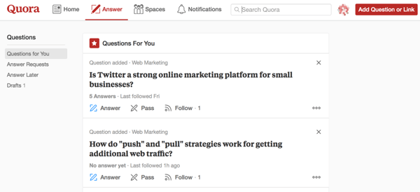 Marketing on Quora includes answering questions you are most qualified to answer.