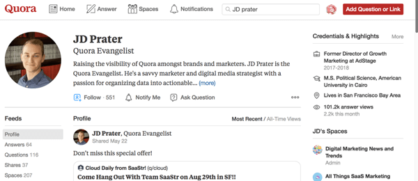 JD Prater's profile on Quora.