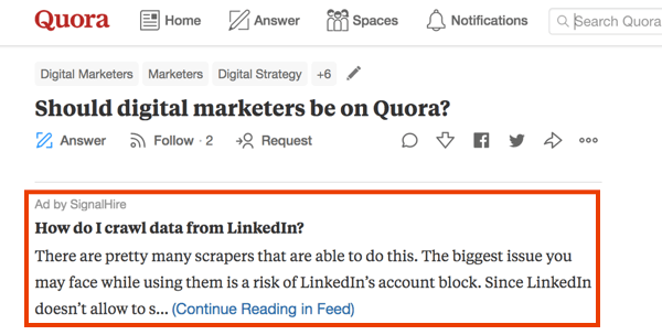Example of marketing on Quora with a paid ad.