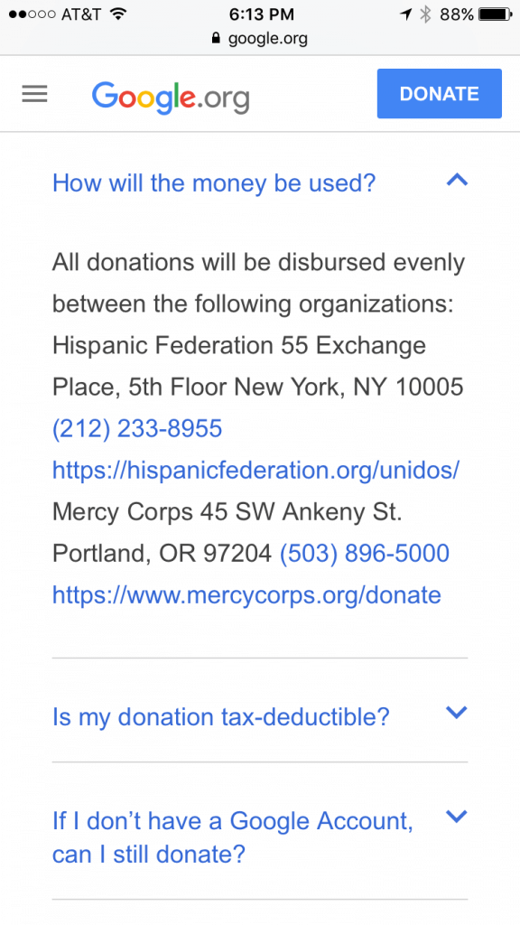 Google Puerto Rico Relief - Mobile Giving & Fundraising 2