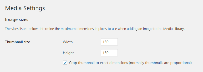 """The Image Sizes > Thumbnail section."""" width=""""772″ height=""""277″ srcset=""""https://unitytenth.com/wp-content/uploads/2020/10/echo/media-settings.png 772w, https://unitytenth.com/wp-content/uploads/2020/10/echo/media-settings-300×108.png5f8b5b5b62a53.jpg 300w, https://unitytenth.com/wp-content/uploads/2020/10/echo/media-settings-768×276.png5f8b5b5c38647.jpg 768w, https://unitytenth.com/wp-content/uploads/2020/10/echo/media-settings-610×219.png 610w"""" sizes=""""(max-width: 772px) 100vw, 772px""""></p> <p>As you can see, the default thumbnail sizes make for a proportional, square image. At 150×150 pixels, here's what you should be looking at:</p> <p><img loading="""