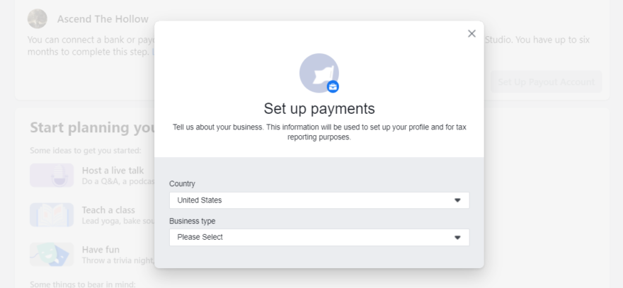Setting up payments with Facebook.