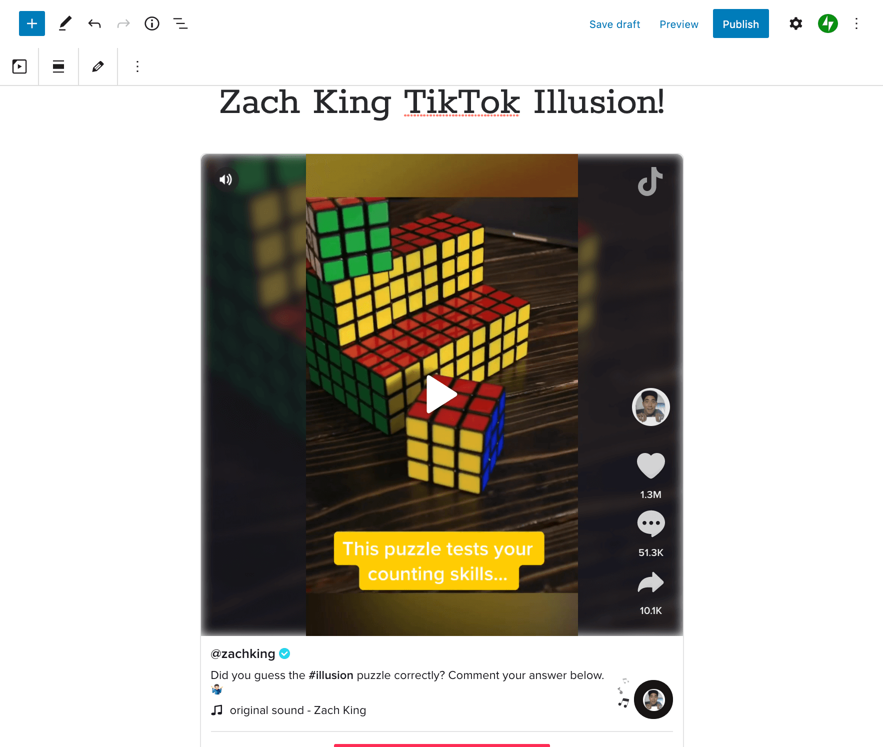 Previewing a TikTok embed in the Block Editor.