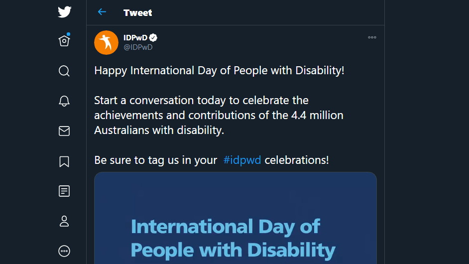 A tweet about disability day.