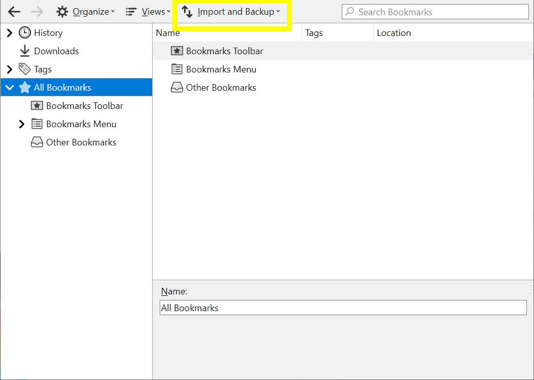 The Firefox bookmark manager.