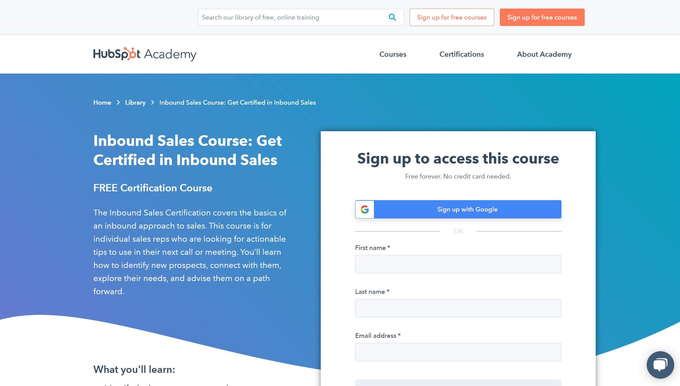 The Inbound Sales online training course.