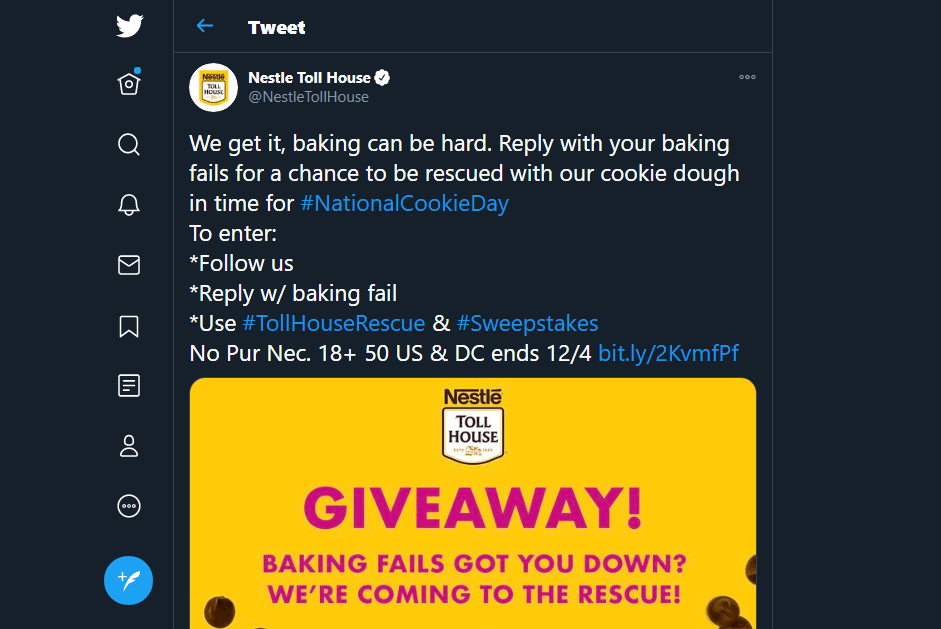 A tweet about national cookie day.