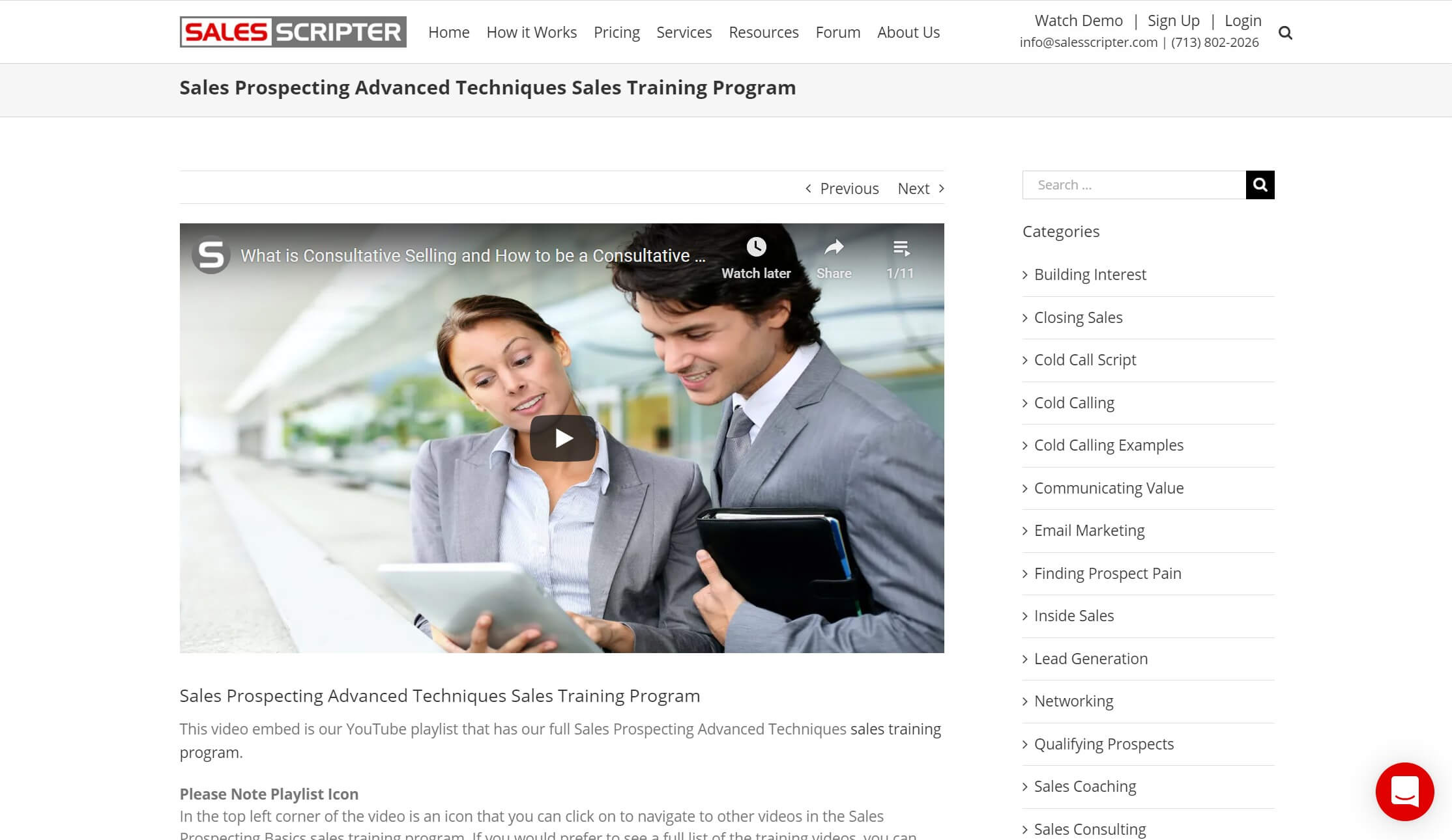 The Sales Prospecting Advanced Techniques online sales training course.