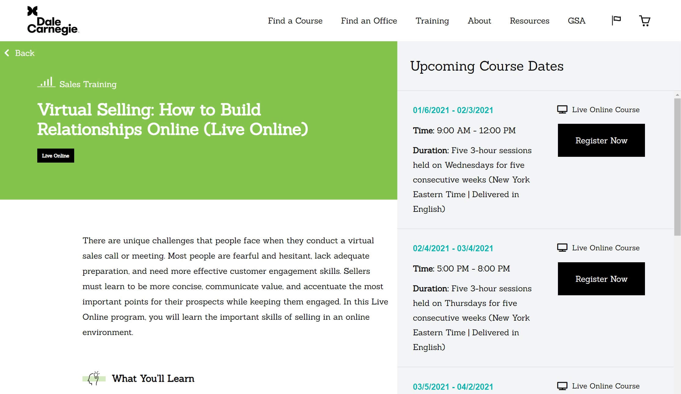 The Virtual Selling online sales training course.