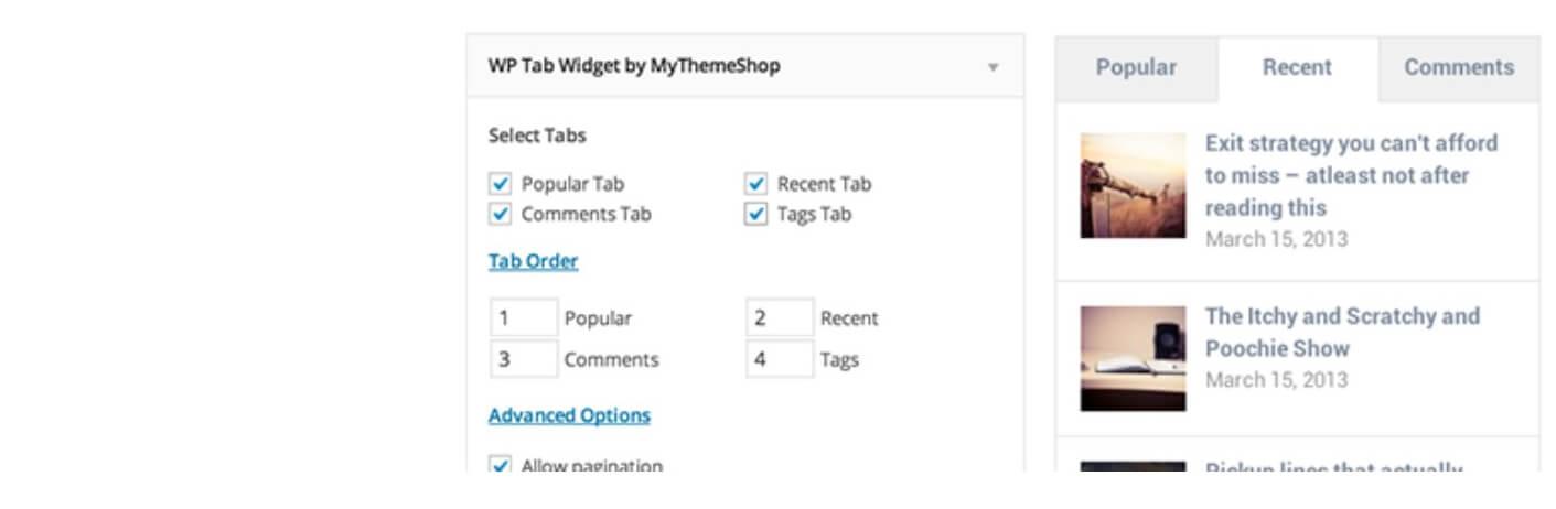 The WP Tab Widget popular posts plugin.