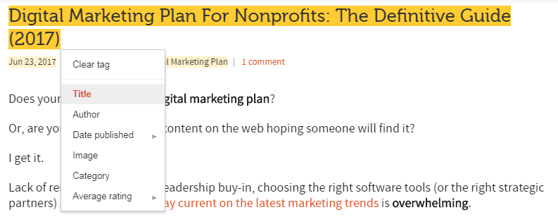 SEO for nonprofits - data highlighter tool_02