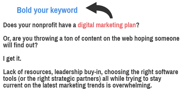 SEO for nonprofits - keyword first 100 words