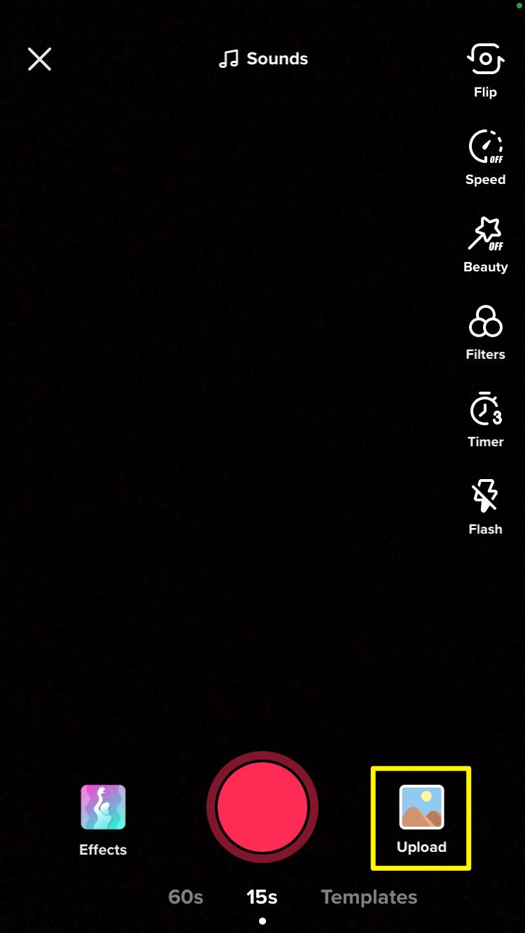 The TikTok Upload button.