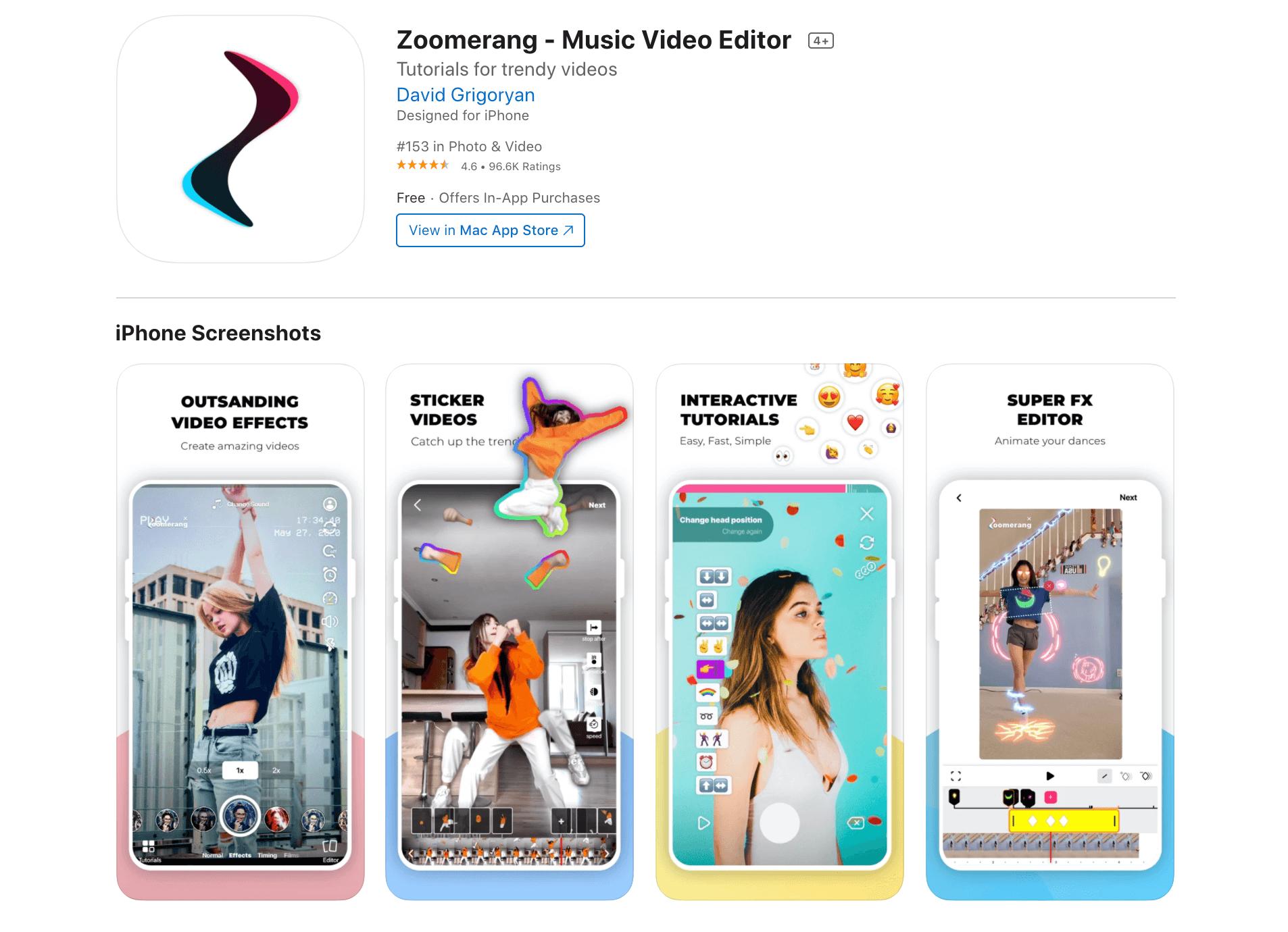 The Zoomerang TikTok video editor.