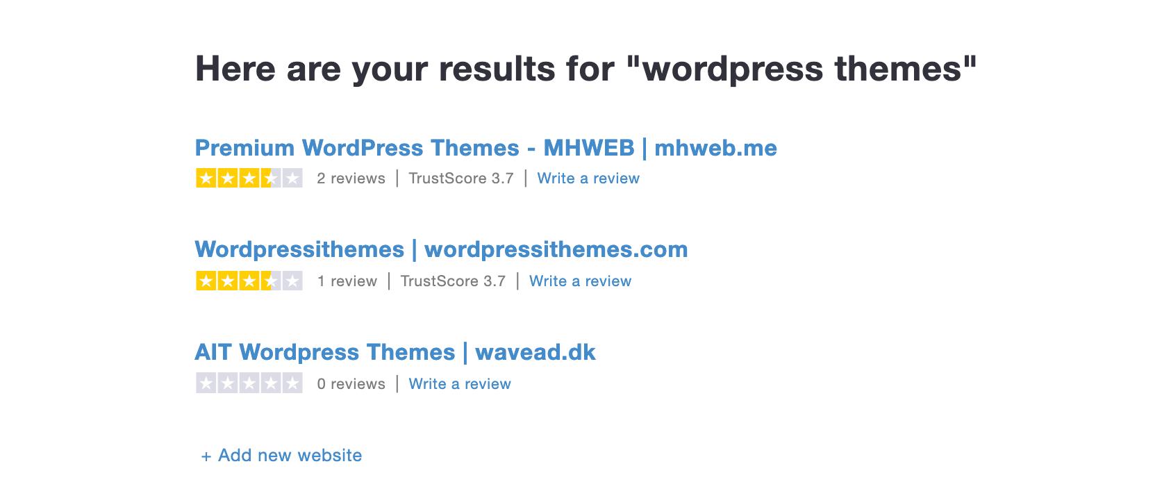 Trustpilot search results.