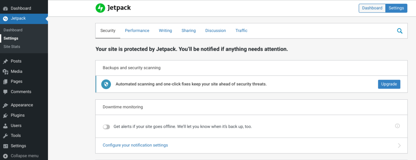 The Jetpack plugin settings.