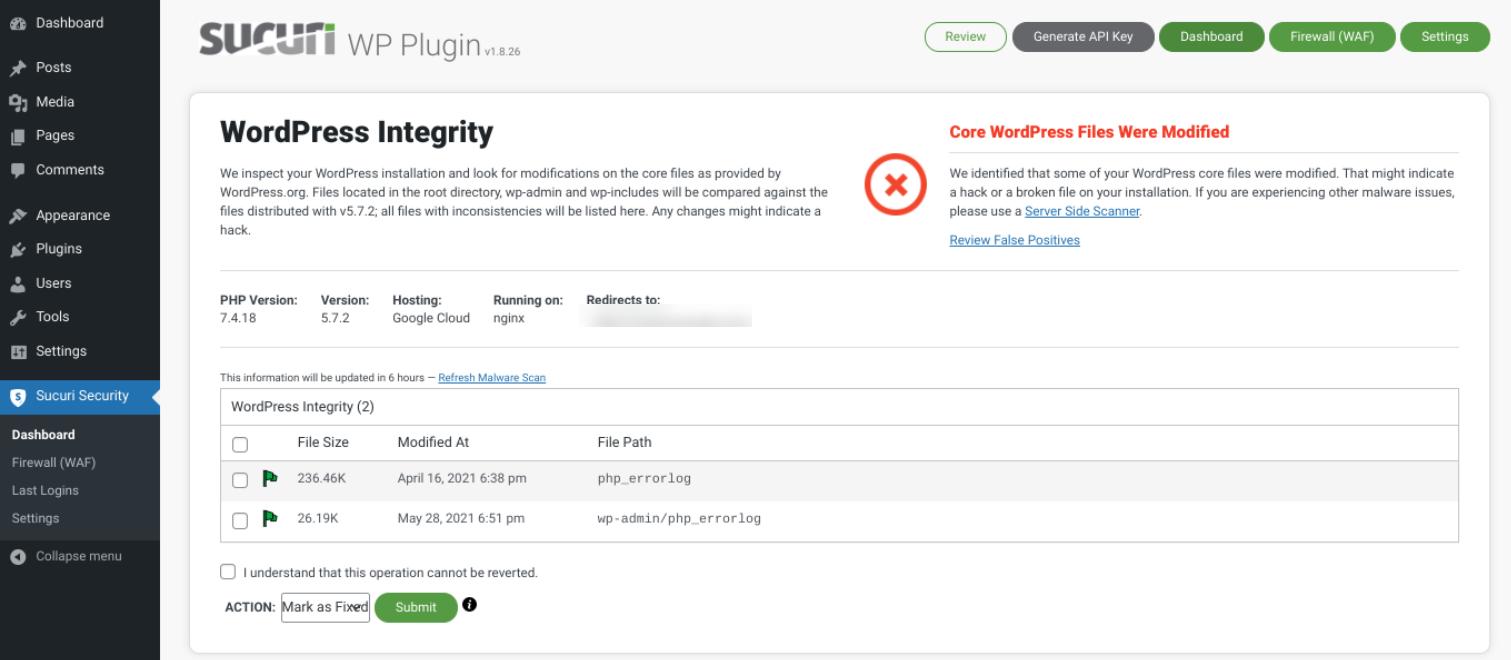 The Sucuri WordPress plugin dashboard.